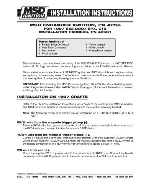 msd enhancer ignition, pn 4255 - Exhaust Gas Technologies Inc