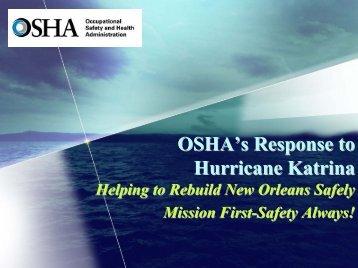 OSHAs Response to Hurricane Katrina - NRT Home - U.S. National ...