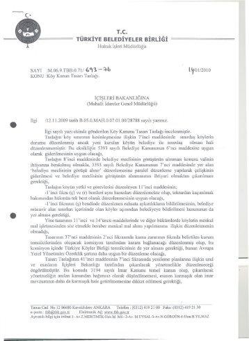 Köy Kanun Tasarısı Taslağı - Türkiye Belediyeler Birliği