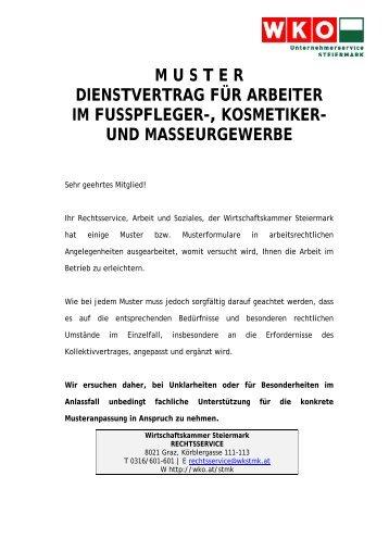 Muster Dienstvertrag Für Arbeiter Im Friseurgewerbe