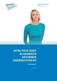 'Effectieve inzet academisch gevormde leerkrachten po' (pdf) - sbo ...