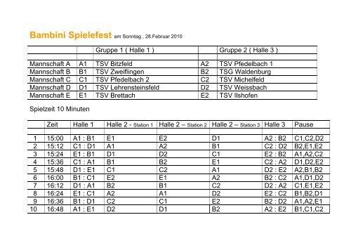 Gruppe 1 ( Halle 1 ) Gruppe 2 ( Halle 3 ... - TSV Pfedelbach