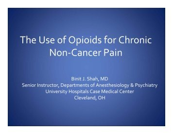 The Use of Opioids for Chronic Non-Cancer Pain - PCSS-O