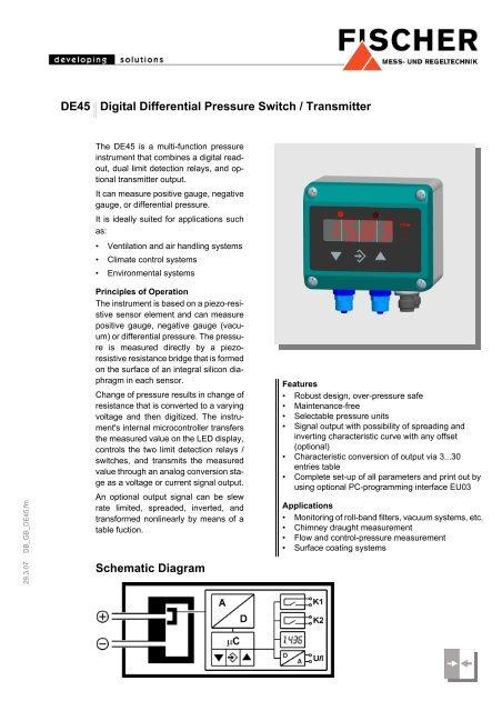 schematic diagram de45 digital differential pressure switch