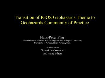 Transition of IGOS Geohazards Theme to Geohazards Community of ...