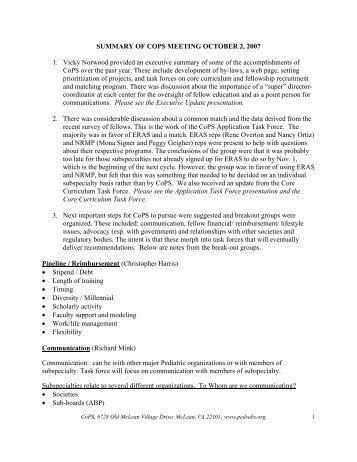 Meeting Minutes - Council of Pediatric Subspecialties