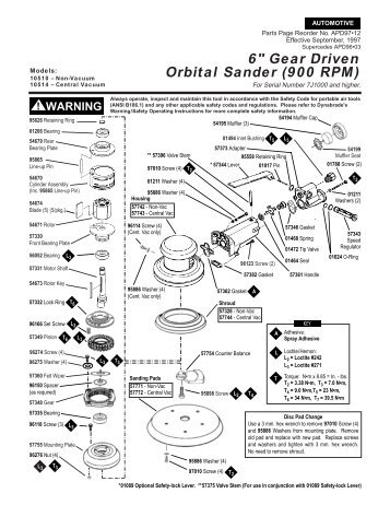 palm orbital sander aps-125/150 series assembly and parts list