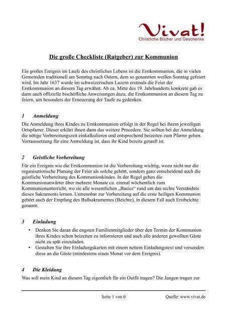 Die große Checkliste zur Erstkommunion Vivat!