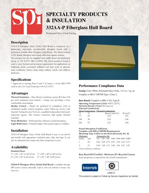 332AA-P Fiberglass Hull Board - SPI - Specialty Products