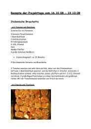 Rezepte der Projekttage vom 16.10.08 - 75 Jahre Kolleg in St. Blasien
