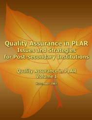 Quality Assurance in PLAR: Issues and Strategies for Post ... - CIRL
