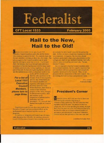 February 2005 Hail to the New, Hail to the Old! - SCFT Local 1533