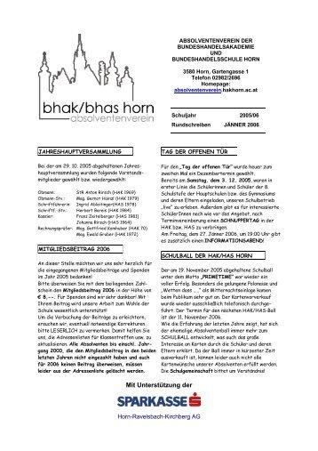 Rundschreiben Jänner 2006 - BHAK/BHAS Horn