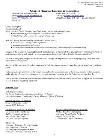 AP Language & Composition Syllabus - Our Lady of Mercy Catholic ...