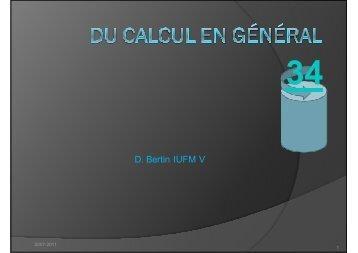Du Calcul en général (clr)