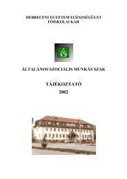 Általános Szociális Munkás Szak - Szaki ... - Egészségügyi Kar