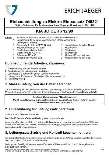 Einbauanleitung AC | Elektrosatz fu00c3u00bcr Fiat Punto ...