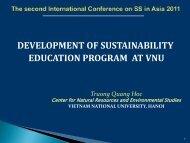 development of sustainability education program at vnu