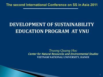 development of sustainability education program at vnu
