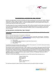 RETURN MATERIAL AUTHORIZATION (