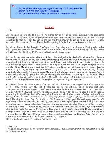 1. Hãy kể lại một cách ngắn gọn truyện Vợ chồng A Phủ từ đầu cho ...