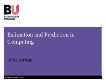 Estimation and Prediction in Computing - School of Design ...
