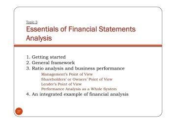 Essentials of Financial Statements Analysis - Free