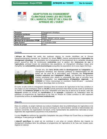 Adaptation au changement climatique - Afrique Ouest - Africa Adapt