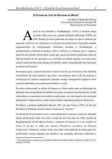 O Estado da Arte do Burnout no Brasil - Saúde e Trabalho Online