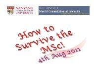 NTU WKWSCI Division of Information Studies Student Orientation
