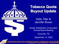 Tobacco Quota Buyout Update - Agricultural Policy Analysis Center