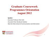Graduate Coursework Programmes Orientation August 2012 Speaker