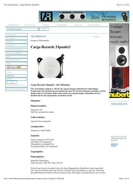 Test Plattenspieler Cargo Records 33punkt3