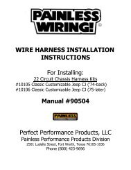 For Installing - Painless Wiring