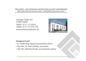 Audit Tax services Legal Advice - Treuhand Niederrhein