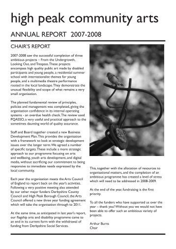 Annual Report 2008 - High Peak Community Arts