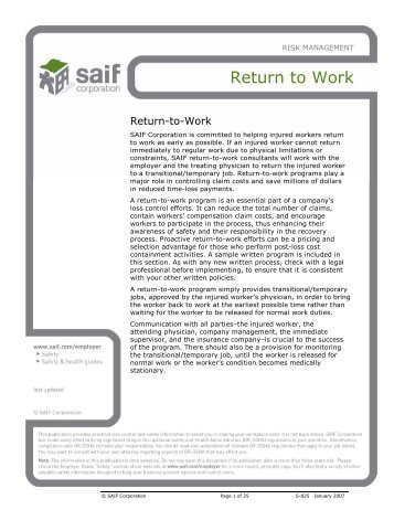 Toolbox: Return-to-Work - SAIF Corporation