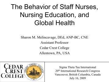 The Behavior of Staff Nurses, Nursing Education, and Global ... - IUPUI