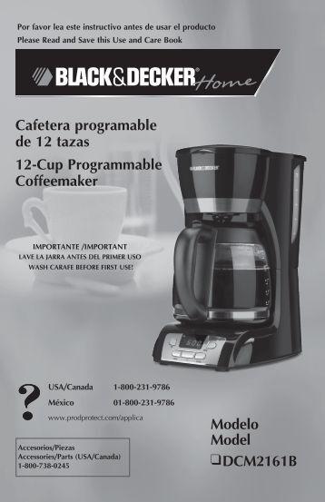 Modelo Model DCM2161B Cafetera programable de 12 tazas 12 ...