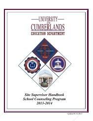 Supervising Counselor Handbook - University of the Cumberlands