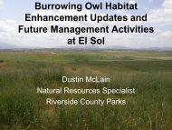 Burrowing Owl Habitat Enhancement Update and Potential Future ...