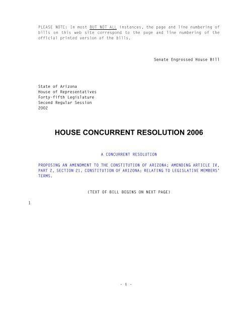 Arizona State Representatives >> House Concurrent Resolution 2006 Arizona State Legislature