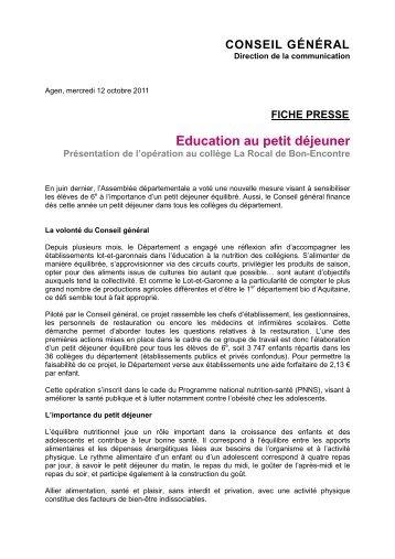 FICHE PRESSE Education au petit déjeuner - Le site du conseil ...