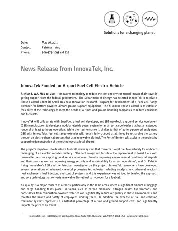 News Release from InnovaTek, Inc. - Tri-Cities Research District