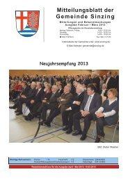 Mitteilungsblatt der Gemeinde Sinzing - Markt Donaustauf