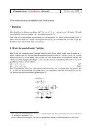 Eigenschaften quadratischer Funktionen