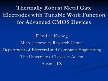 Thermally Robust Metal Gate Electrodes with Tunable ... - Sematech