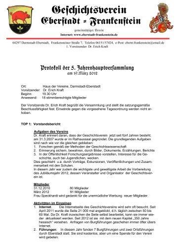 Protokoll der Jahreshauptversammlung 2012 - Geschichtsverein ...