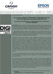 nouveaux supports certifiés Epson® Digigraphie - Canson Infinity