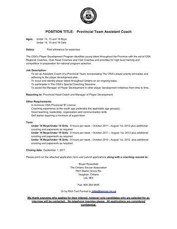 Team Coach - Recreational/House U16-U19 Job Description